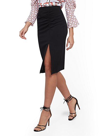 Ruched Slit-Front Skirt - 7th Avenue - New York & Company