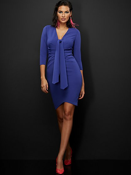 Ruched Tie-Front Sheath Dress - Magic Crepe® - New York & Company