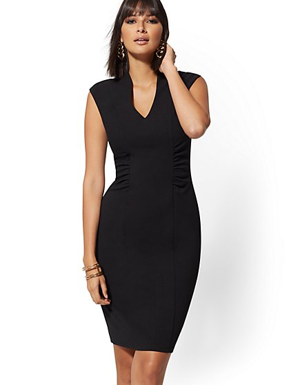 Ruched V-Neck Bodycon Sheath Dress - Magic Crepe - New York & Company