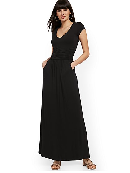 Ruched V-Neck Maxi Dress - NY&C Style System - New York & Company