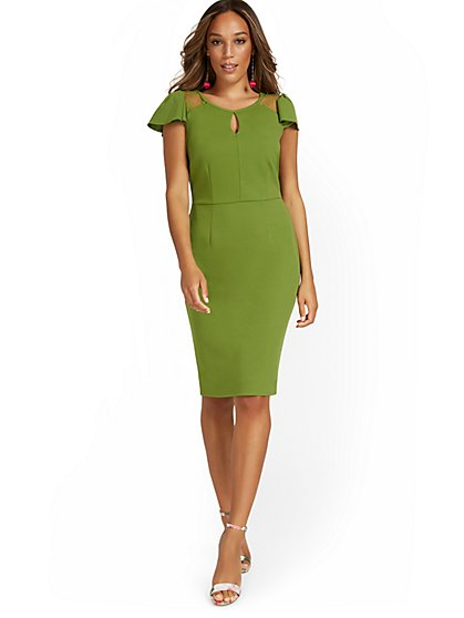Ruffle Cap-Sleeve Sheath Dress - Magic Crepe® - New York & Company