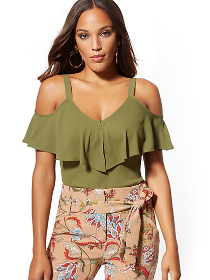 Ruffle Cold-Shoulder Top - New York & Company