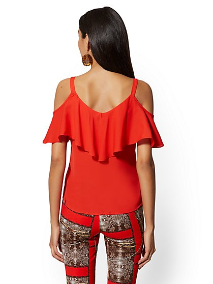 81a601be04a ... Ruffle Cold-Shoulder Top - New York   Company