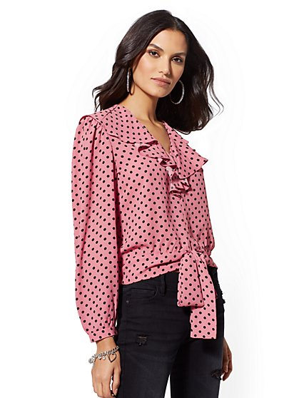 Ruffle Dot-Print Blouse - New York & Company