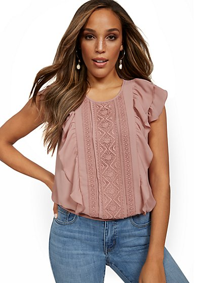 Ruffle-Front Blouse - Lily & Cali - New York & Company