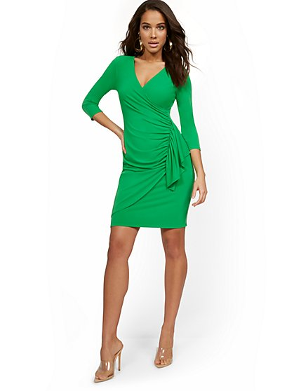 Ruffle-Front V-Neck Dress - New York & Company