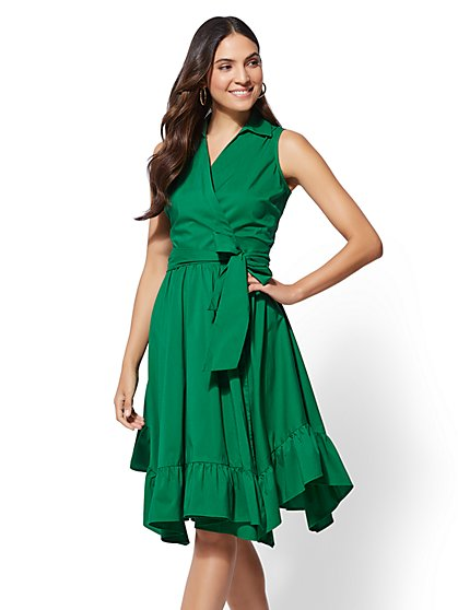 Ruffle Hem Poplin Shirtdress - New York & Company