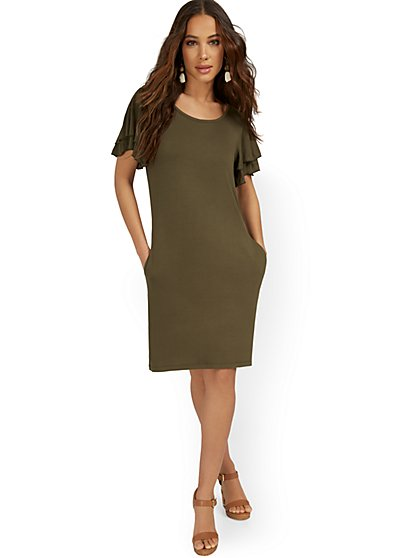 Ruffle-Sleeve Knit Dress - New York & Company
