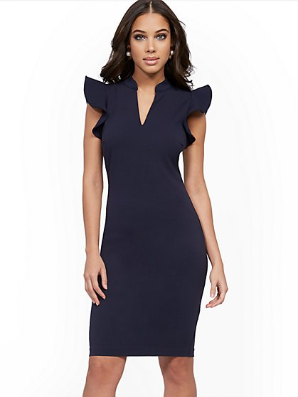 Ruffle-Sleeve Sheath Dress - Magic Crepe® - New York & Company