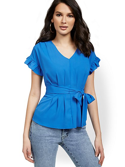 Ruffle-Sleeve Tie-Front V-Neck Top - New York & Company