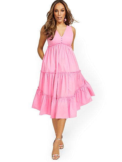 Ruffle-Tier V-Neck Dress - New York & Company