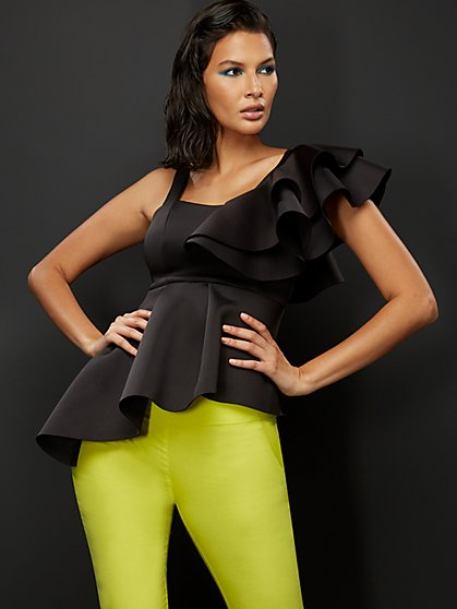 Ruffled Asymmetrical Peplum Top - New York & Company