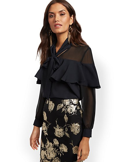 Ruffled Bow Blouse - 7th Avenue - New York & Company