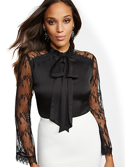 Ruffled Bow-Detail Lace Blouse - New York & Company