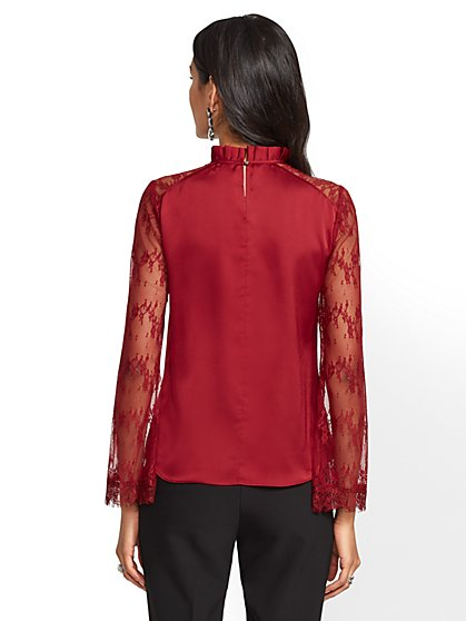 Red Blouses Shirts For Women Ny C