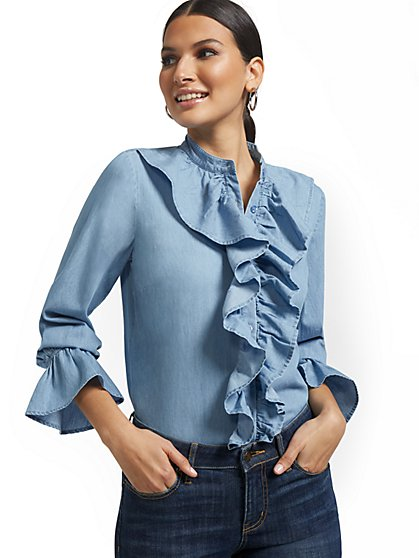 Ruffled Button-Front Shirt - New York & Company