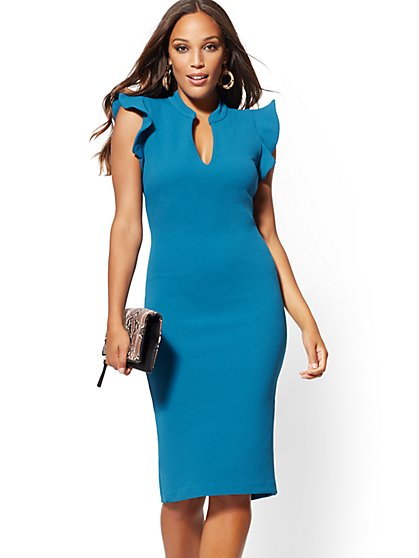 Ruffled Cap Sleeve Sheath Dress - New York & Company