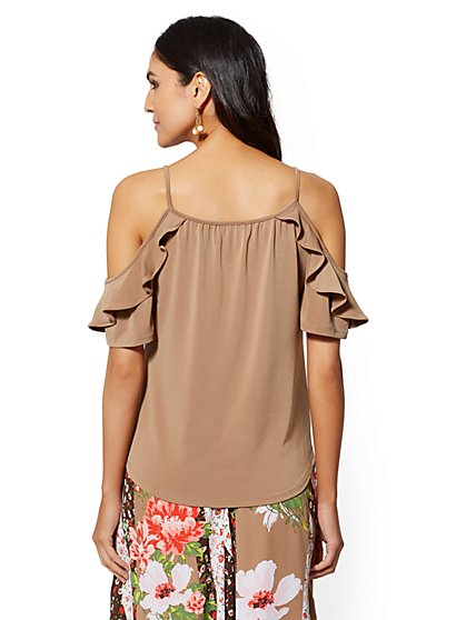 50072202a46 ... Ruffled Cold-Shoulder Top - 7th Avenue - New York & Company