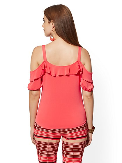 40463f2fe1a86d ... Ruffled Cold-Shoulder Top - 7th Avenue - New York & Company ...