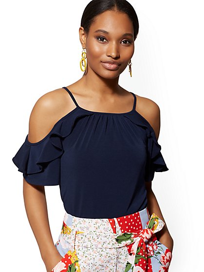 Ruffled Cold-Shoulder Top - 7th Avenue - New York & Company