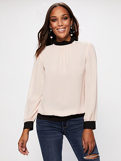 Ruffled-Collar Contrast-Trim Blouse - New York & Company