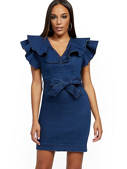 Ruffled Denim Sheath Dress - Dark Wash - New York & Company