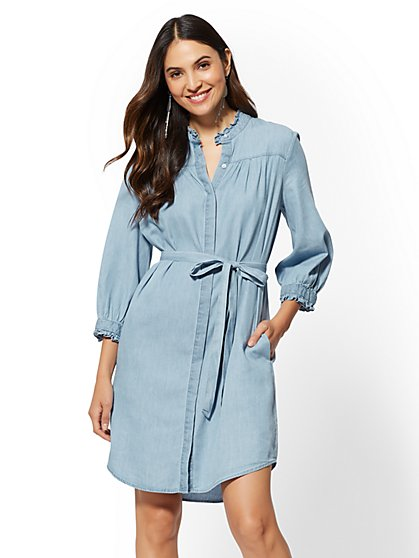 Ruffled Denim Shirtdress - New York & Company