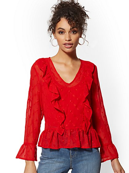 Ruffled Eyelet Blouse - New York & Company