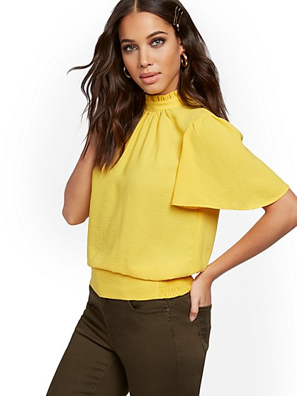 Ruffled Flutter-Sleeve Top - New York & Company