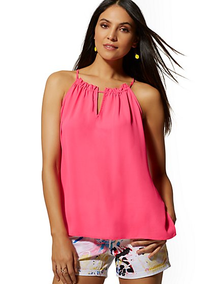 Ruffled Halter Top - Soho Soft Blouse - New York & Company