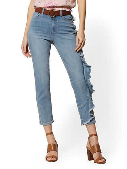 17fc79ff416 Ruffled High-Waist Crop Straight Leg Jeans - Blue Belle - Soho Jeans - New  ...