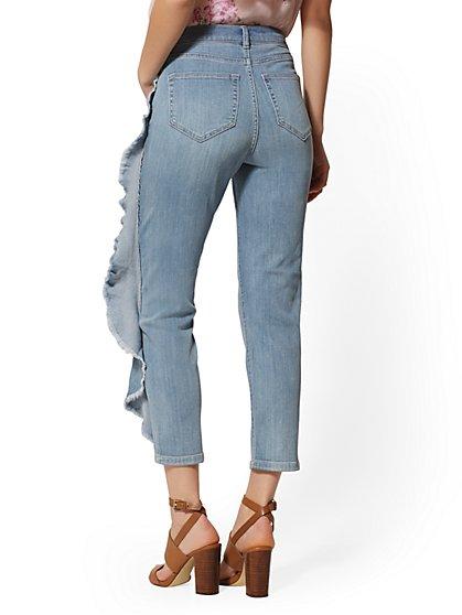 32dee43f8c4 ... Ruffled High-Waist Crop Straight Leg Jeans - Blue Belle - Soho Jeans -  New ...