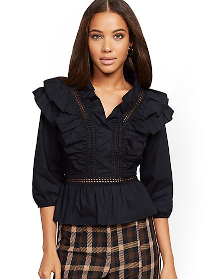 Ruffled Lace-Trim Poplin Shirt - New York & Company
