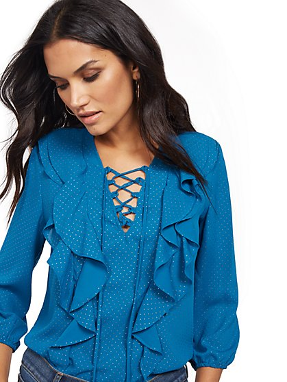 Ruffled Lace-Up Blouse - New York & Company