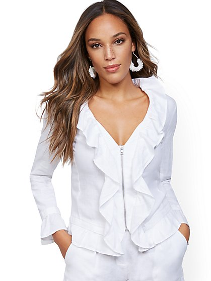 Ruffled Linen Zip-Front Jacket - New York & Company