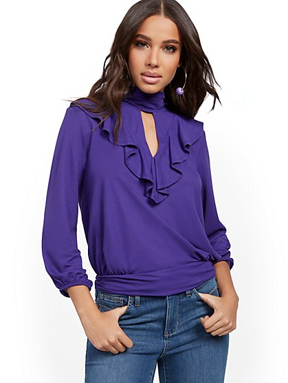 Ruffled Mock-Neck Top - New York & Company