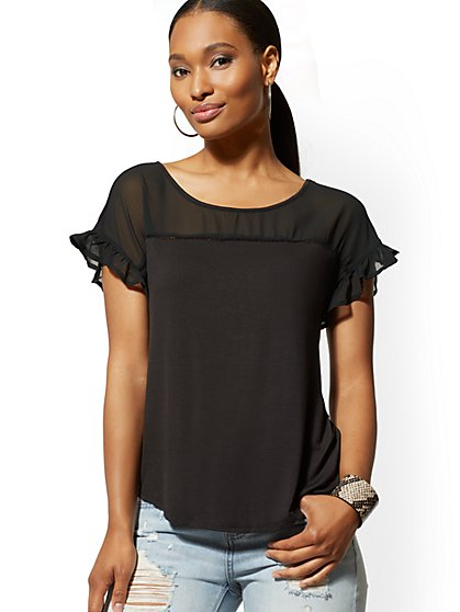 Ruffled Open-Stitch Tee - New York & Company