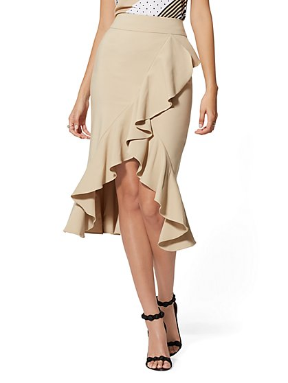 Ruffled Pencil Skirt - All-Season Stretch - 7th Avenue - New York & Company