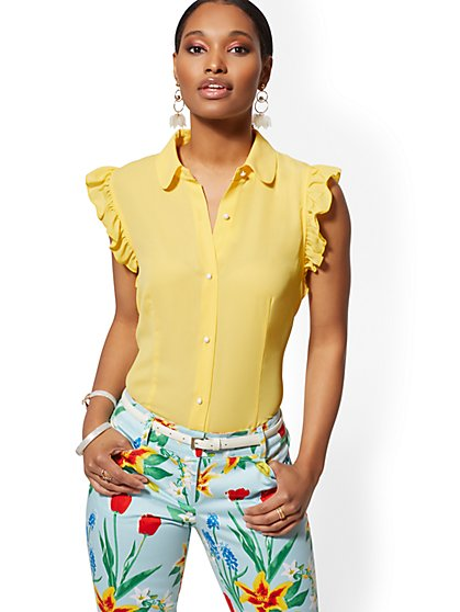 Ruffled Peter-Pan Collar Blouse - 7th Avenue - New York & Company