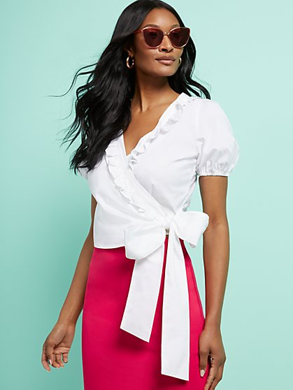 Ruffled Poplin Tie-Waist Shirt - 7th Avenue - New York & Company