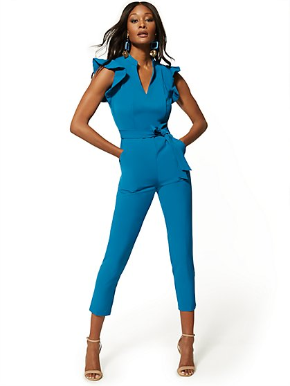 c2650935f4 Ruffled-Shoulder Madie Jumpsuit - 7th Avenue - New York & Company ...