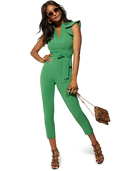 232d965e50 Ruffled-Shoulder Madie Jumpsuit - 7th Avenue - New York & Company ...