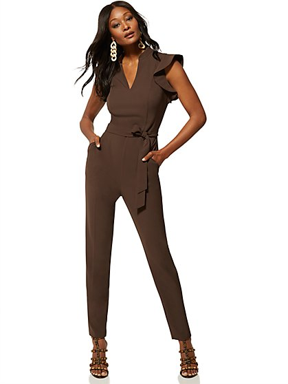 f0ba556c1614 Ruffled-Shoulder Madie Jumpsuit - 7th Avenue - New York & Company ...