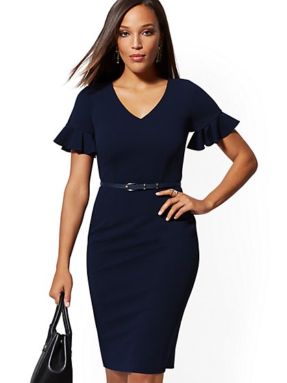 Ruffled-Sleeve Belted Sheath Dress - Magic Crepe - New York & Company