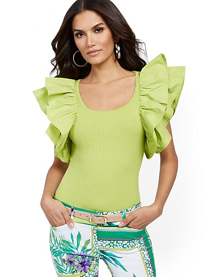 Ruffled-Sleeve Sweater - 7th Avenue - New York & Company