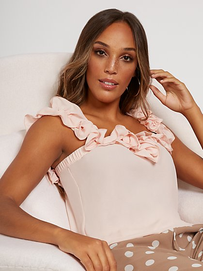 Ruffled Sleeveless Blouse - Sweet Pea - New York & Company