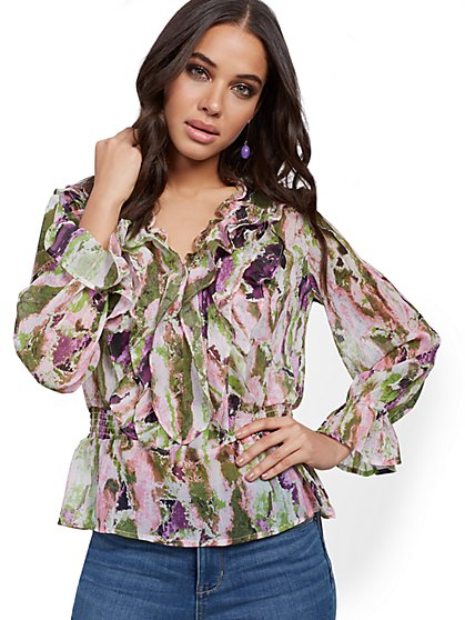 Ruffled Smocked Blouse - New York & Company