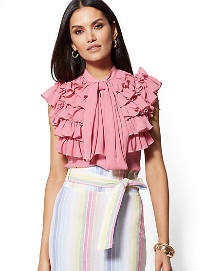 4a442e35705e1 Ruffled Tie-Front Blouse - New York   Company ...