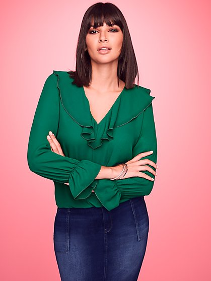 Ruffled V-Neck Blouse - Sweet Pea - New York & Company