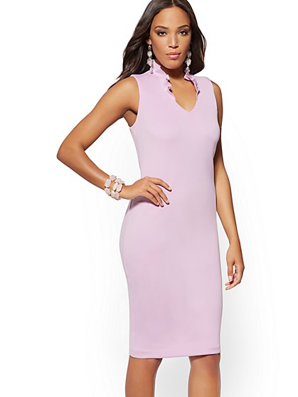 Ruffled V-Neck Scuba Sheath Dress - New York & Company
